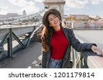 fascinating girl in knitted red ... | Shutterstock . vector #1201179814