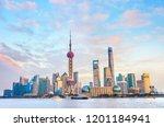 colorful sunset over shanghai... | Shutterstock . vector #1201184941