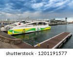 barcelona seaport with boats... | Shutterstock . vector #1201191577