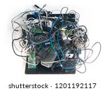 e waste mess. a jumbled up pile ... | Shutterstock . vector #1201192117