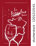 red burgundy poster with wine... | Shutterstock .eps vector #1201213141
