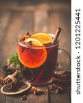 christmas mulled wine with... | Shutterstock . vector #1201225441