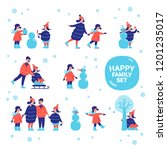 family happy holiday winter... | Shutterstock .eps vector #1201235017
