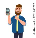 man showing   holding credit  ... | Shutterstock .eps vector #1201245217