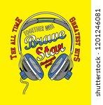 headphone   brave star slogan ... | Shutterstock .eps vector #1201246081