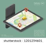 city map navigation route ... | Shutterstock . vector #1201254601