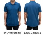blue blank polo t shirt on... | Shutterstock . vector #1201258081