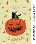 happy halloween card design... | Shutterstock .eps vector #1201258474