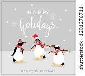 Cute Penguin In Winter Costume...