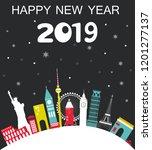 happy new year 2019  travel... | Shutterstock .eps vector #1201277137
