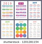 calendar 2019. colorful set.... | Shutterstock .eps vector #1201281154