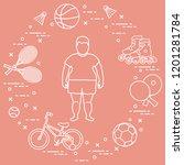 fat boy  badminton rackets and... | Shutterstock .eps vector #1201281784