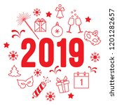 new year symbols. gifts ... | Shutterstock .eps vector #1201282657