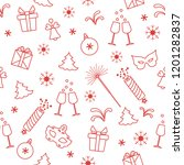 seamless pattern with new year... | Shutterstock .eps vector #1201282837