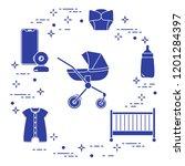 goods for babies. stroller ... | Shutterstock .eps vector #1201284397