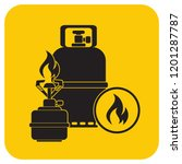 camping stove with gas bottle... | Shutterstock .eps vector #1201287787