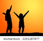 silhouette of happy couple... | Shutterstock .eps vector #1201287877