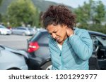 painful whiplash after fender... | Shutterstock . vector #1201292977