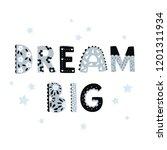"vector cute ""dream big"" hand... | Shutterstock .eps vector #1201311934"