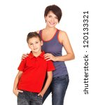 Full portrait of a happy young mother with son 8 year old over white background - stock photo