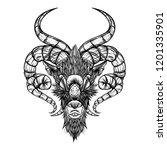 demon goat baphomet. satanic... | Shutterstock .eps vector #1201335901