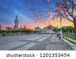 lighthouse near the pier  molo  ... | Shutterstock . vector #1201353454