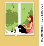 woman writing in a journal ... | Shutterstock .eps vector #1201357024