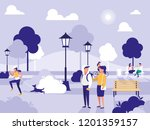 people in park with chairs and... | Shutterstock .eps vector #1201359157
