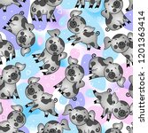 endless pattern with cute black ... | Shutterstock .eps vector #1201363414