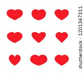 set of simple red heart icons | Shutterstock . vector #1201367311