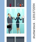 business woman giving an... | Shutterstock .eps vector #1201372054