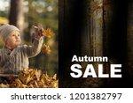 autumn sale. little cheerful...   Shutterstock . vector #1201382797