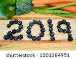 2019 written in blueberries... | Shutterstock . vector #1201384951