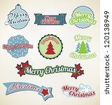 merry christmas labels on...   Shutterstock .eps vector #120138949