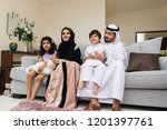 happy arabian family having fun ... | Shutterstock . vector #1201397761