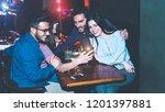 happy friends using mobile... | Shutterstock . vector #1201397881