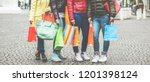 young girls with shopping bags... | Shutterstock . vector #1201398124