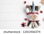 christmas dinner menu background | Shutterstock . vector #1201406374