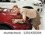 customer female loving her new...   Shutterstock . vector #1201420204