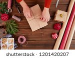holiday decor concept. woman's... | Shutterstock . vector #1201420207