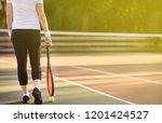 young female tennis player with ... | Shutterstock . vector #1201424527