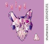 print with shine crystal skull. | Shutterstock . vector #1201425151