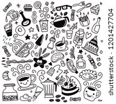 collection of hand drawn... | Shutterstock .eps vector #1201427704
