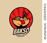 delicious ramen bakso meatball... | Shutterstock .eps vector #1201429411