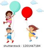 kids cartoon hanging on balloon | Shutterstock .eps vector #1201467184