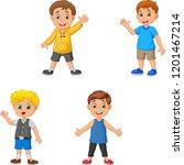 cartoon boys collection set... | Shutterstock .eps vector #1201467214