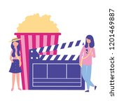 woman clapperboard popcorn... | Shutterstock .eps vector #1201469887