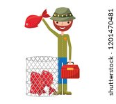 fisherman holding fish and... | Shutterstock .eps vector #1201470481