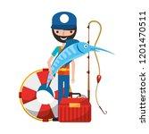 fisherman holding swordfish... | Shutterstock .eps vector #1201470511