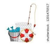 fishes lifebuoy fishing cane...   Shutterstock .eps vector #1201470517